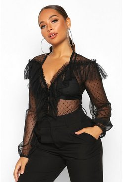 Womens Black Dobby Mesh Ruffle Detail Bodysuit