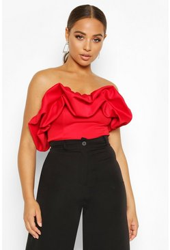 Womens Red Extreme Ruffle Sleeveless Top