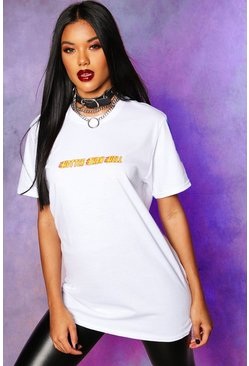 Womens White Hotter Than Hell Slogan T-Shirt