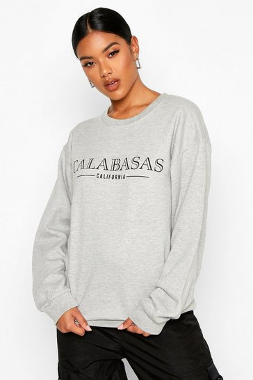 Grey Calabasas Slogan Sweatshirt