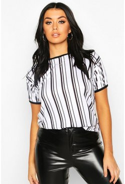 Womens White Stripe Ringer T-Shirt