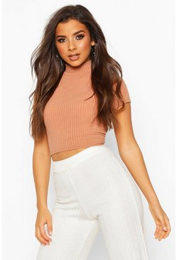 Womens Camel Soft Rib High Neck Cap Sleeve Crop Top