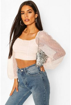 Blush Dobby Mesh Long Sleeve Square Neck Crop Top