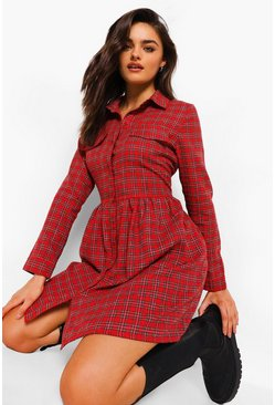 Red Check Pocket Detail Skater Dress
