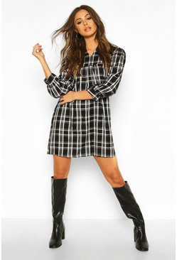 Womens Black Check Ruffle Neck Shift Dress