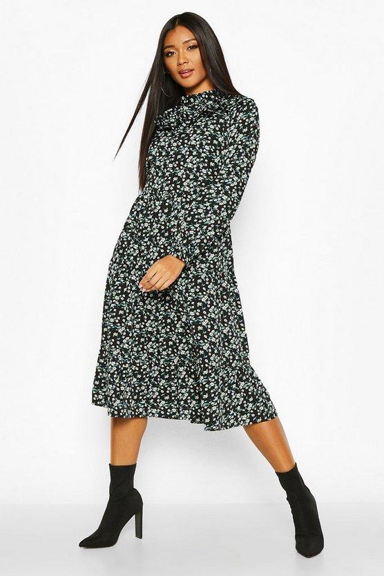 High Neck Ruffle Midi Dress