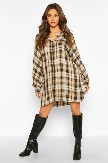 Womens Tan Long Sleeve Oversized Check Shirt Dress