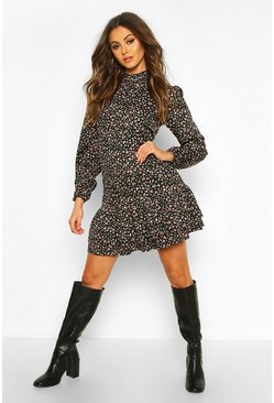 Womens Black Ditsy Floral High Neck Smock Dress