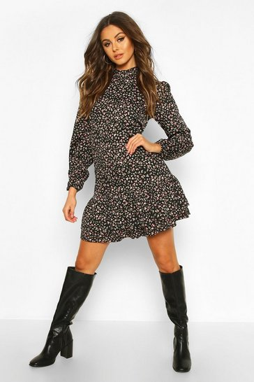 Black Ditsy Floral High Neck Smock Dress