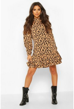 Tan Leopard Print High Neck Smock Dress