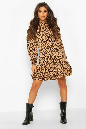 Womens Tan Leopard Print High Neck Smock Dress