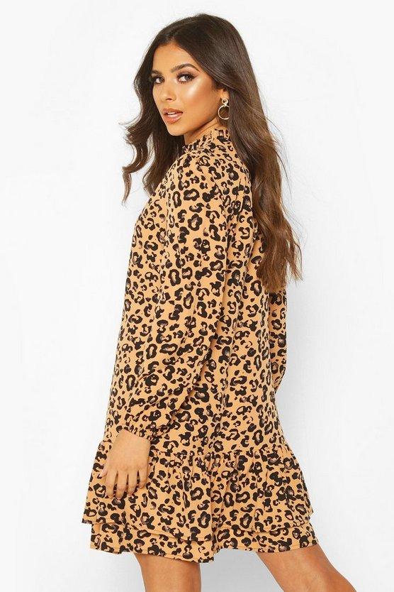 Leopard Print High Neck Smock Dress