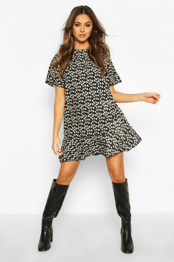 Womens Black Ruffle Detail Shift Dress