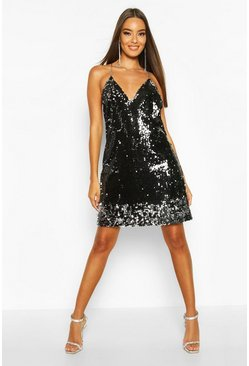 Black Sequin Chain Detail Shift Dress