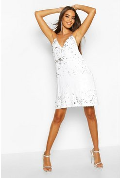 Womens White Sequin Chain Detail Shift Dress