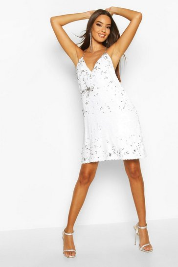 White Sequin Chain Detail Shift Dress