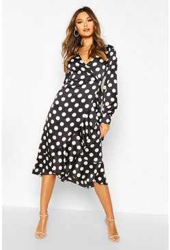 Black Woven Spot Wrap Ruffle Midi Dress