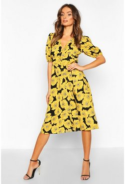 Black Satin Floral Puff Sleeve Button Through Midi Dress