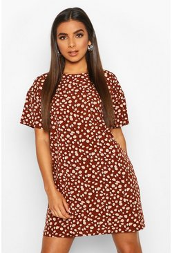 Chocolate Woven Dalmatian Spot Shift Dress