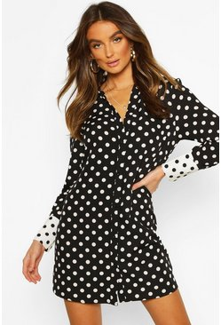 Womens Black Woven Spot Contrast Oversized Shirt Dress