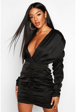 Black Satin Wrap Rouched Mini Dress