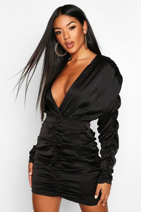 Satin Wrap Rouched Mini Dress