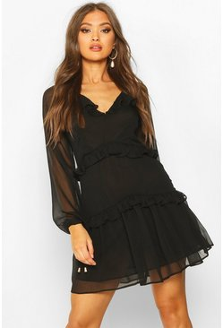 Womens Black Button Ruffle Skater Dress