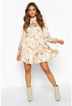 Nude Satin Floral Print Frill Hem Skater Dress