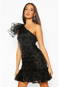 Black Bow Shoulder Organza Polka Dot Shirring Dress