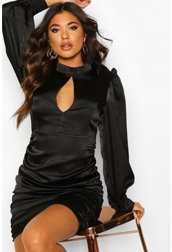 Womens Black Satin Pussy Bow Rouche Shift Dress