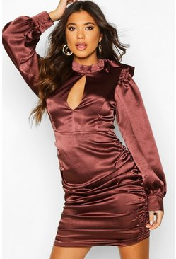 Chocolate Satin Pussy Bow Rouche Shift Dress