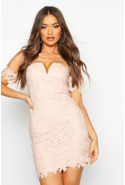 Womens Champagne Off The Shoulder V Bar Lace Mini Dress