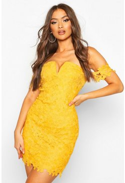 Womens Mustard Off The Shoulder V Bar Lace Mini Dress
