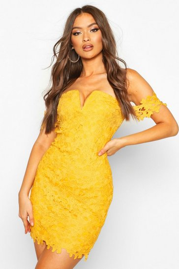 Mustard Off The Shoulder V Bar Lace Mini Dress