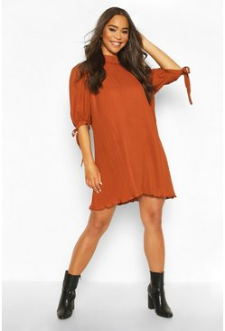 Rust Pleated Bow Detail Swing Dress