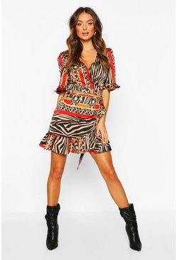 Womens Black Chain Print Ruffle Tea Dress