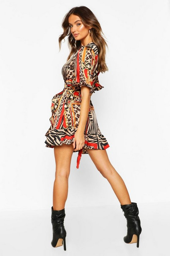 Chain Print Ruffle Tea Dress