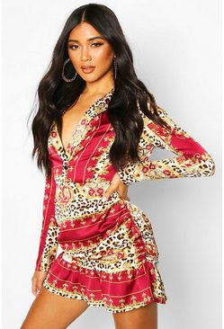 Berry Satin Chain Print Rouched Mini Dress