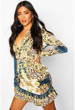 Blue Satin Chain Print Rouched Mini Dress