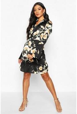 Womens Black Floral Print Satin Flared Sleeve Mini Dress