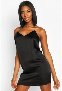 Black Diamonte Strap Satin Slip Dress