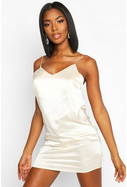 Womens Champagne Diamonte Strap Satin Slip Dress