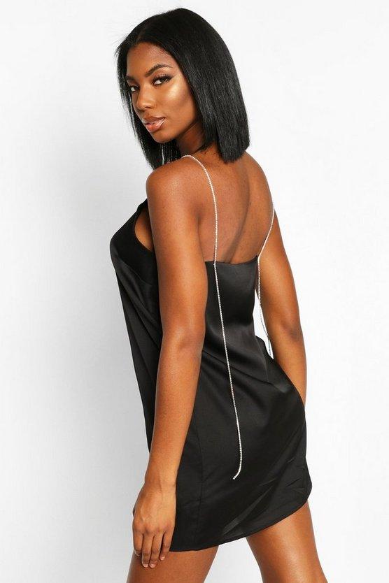 Diamonte Strap Satin Slip Dress