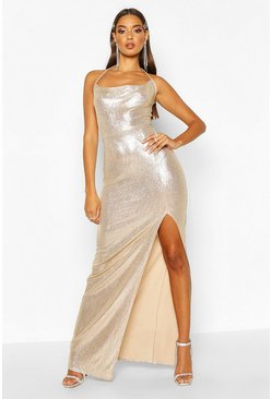 Womens Gold Cowl Front Split Maxi Dress