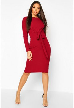 Berry Wrap Detail 3/4 Sleeve Midi Dress