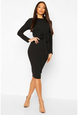 Black Wrap Detail 3/4 Sleeve Midi Dress