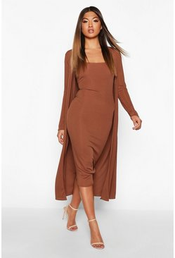 Chocolate Ribbed Midi Dress & Duster Set
