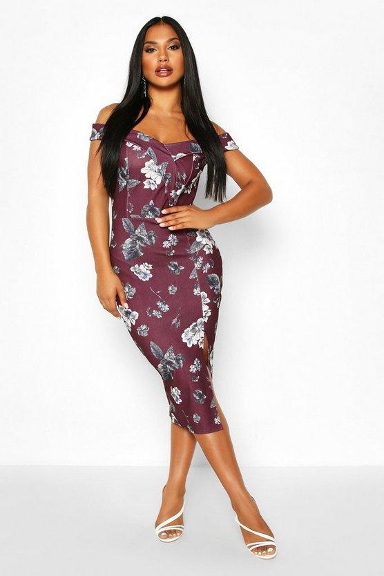Floral Off The Shoulder Bodycon Midi Dress