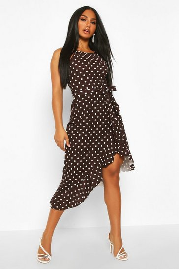 Womens Chocolate Polka Dot Square Neck Ruffle Midi Dress