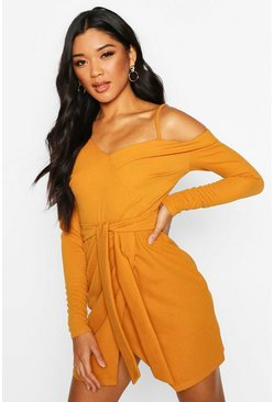 Mustard Bodycon Blazer Dress